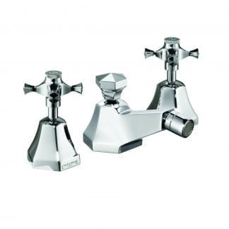 Cubist Three-Hole Bidet Mixer with Pop-Up Waste