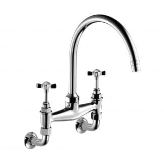 Edwardian Cross Top, Two-Hole Kitchen Sink Bridge Mixer 260mm (10″) Spout, Wall Mounted
