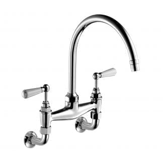 Edwardian Bone China Lever, Two-Hole Kitchen Sink Bridge Mixer 260mm (10″) Spout, Wall Mounted