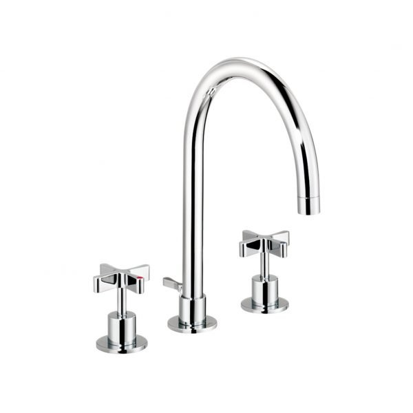 DCA Three-Hole Basin Mixer with Pop-Up Waste 210mm