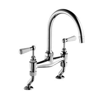 Edwardian Bone China Lever, Two-Hole Kitchen Sink Bridge Mixer 215mm (8″) Spout, Deck Mounted