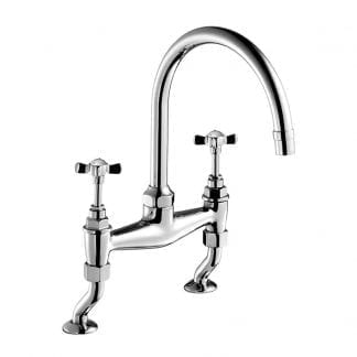 Edwardian Cross Top, Two-Hole Kitchen Sink Bridge Mixer 260mm (10″) Spout, Deck Mounted
