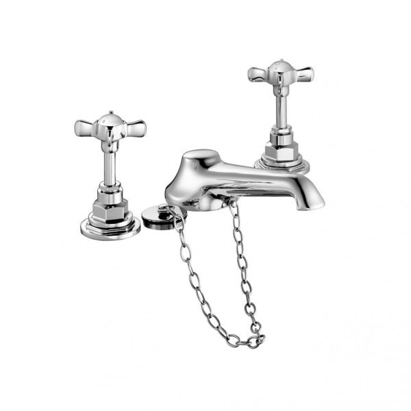 Edwardian Three-Hole Basin Mixer with Plug and Chain
