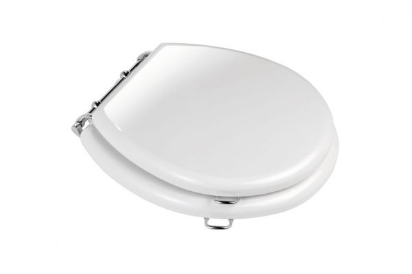 FSD White Lavatory Seat with Chrome Fittings