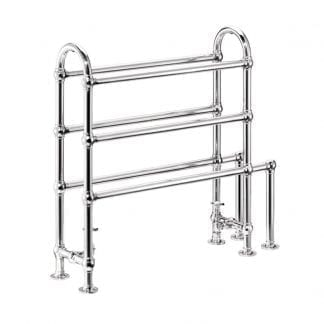 Edwardian Wall Mounted with Storage Rack Heated Towel Rail