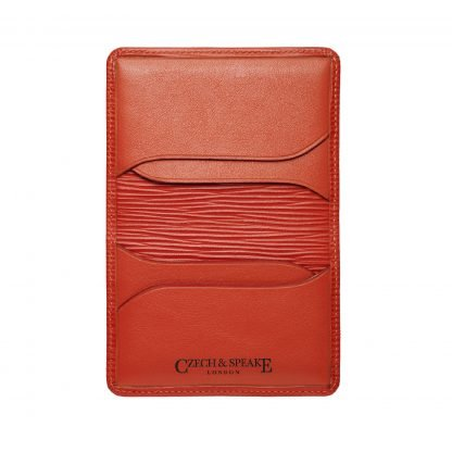 Foldable Card Holder in red leather