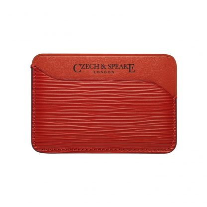 Triple Card Holder in red leather