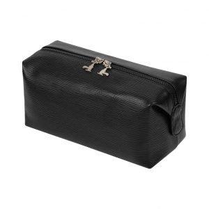 Magnetic Wash Bag in soft black leather - 4L