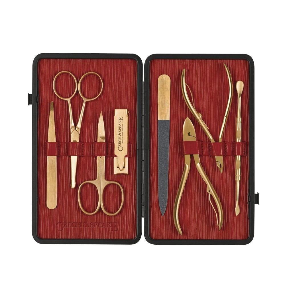 Manicure Set - Black/Red Gold