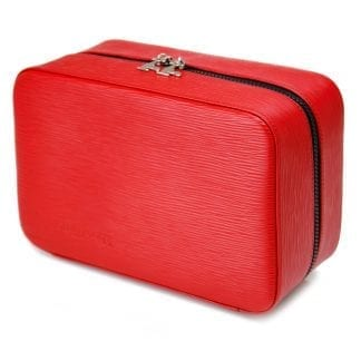 Three Compartment Gentlemans Travel Case In Red Leather 4.8L