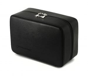 Three Compartment Gentlemans Travel Case in black leather - 4.8L