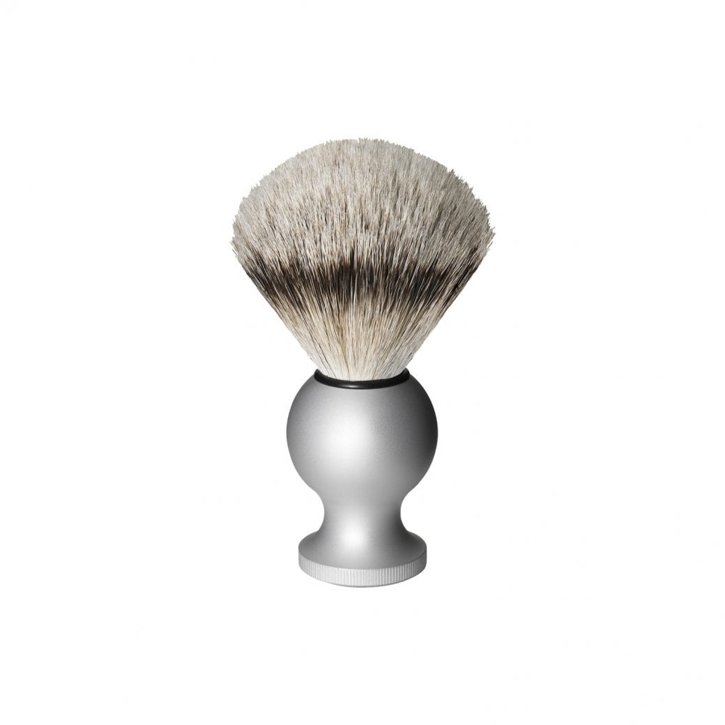 Oxford & Cambridge Badger Travel Shaving Brush, Silver