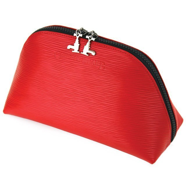 Red Soft Leather Travel Pouch 2L