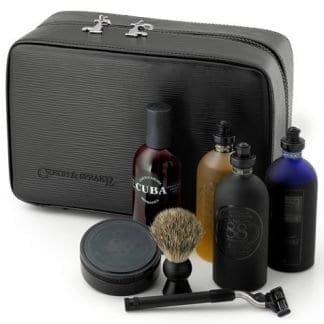 Three Compartment Gentlemans Travel Case In Black Leather 4.8L