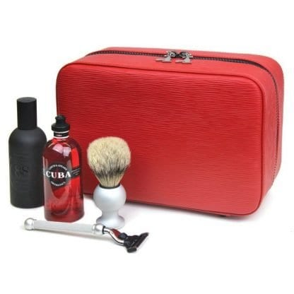 Three Compartment Gentlemans Travel Case in red leather - 4.8L