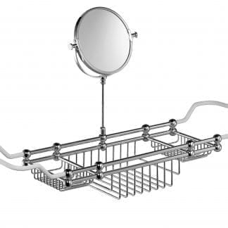 Edwardian Bath Rack with Mirror in Chrome