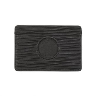 Single Cut Out Card Holder In Black Leather