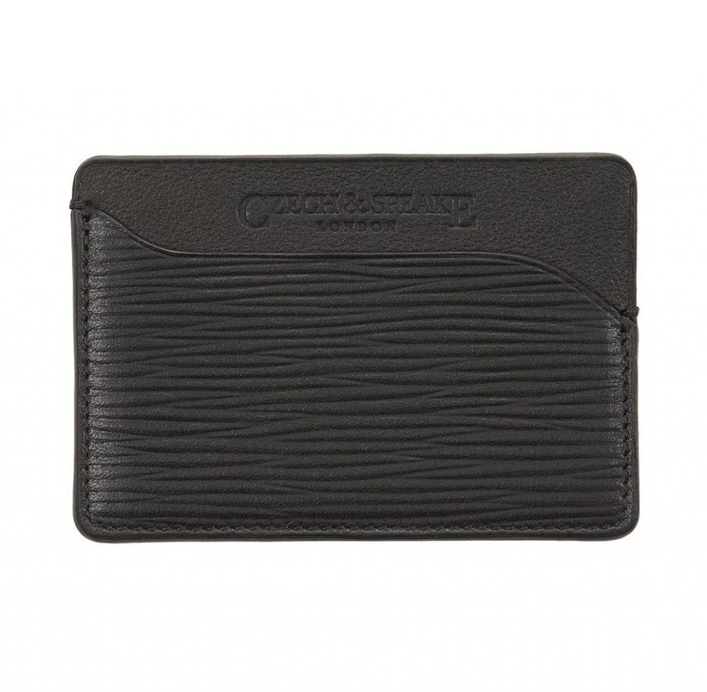 Triple Card Holder in black leather
