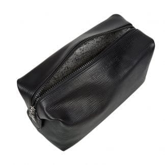 Magnetic Wash Bag In Soft Black Leather 4L