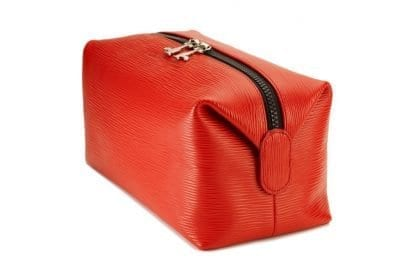 Magnetic Wash Bag in soft red leather - 4L