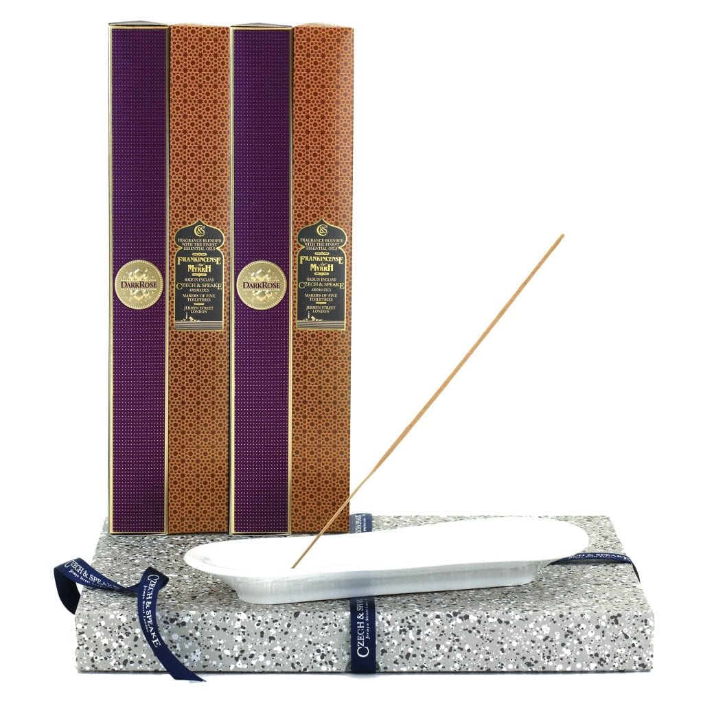 Incense Stick Kit – Holder with Dark Rose and Frankincense and Myrrh Incense