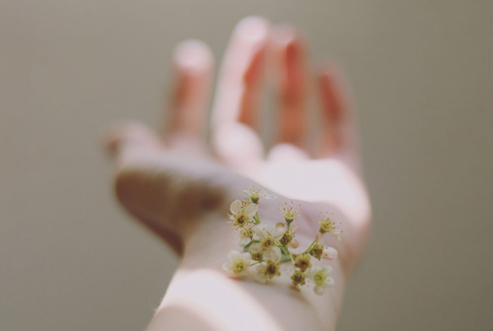 Cherry pistils on an arm; different skin types have unique reactions to scents.