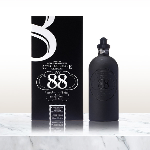 No.88 aftershave bottle and package on marble surface